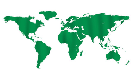 3D model of world map in green with waves. photo