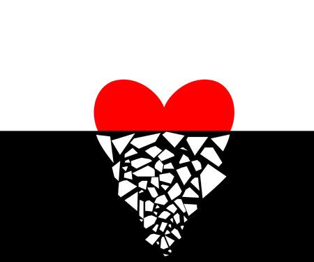 Vector illustration of a heart half broken. Illustration