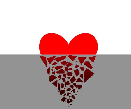 debris: Vector illustration of a broken heart half. Flying debris.
