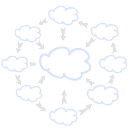 transmit: Vector illustration of of clouds transmit data to each other.