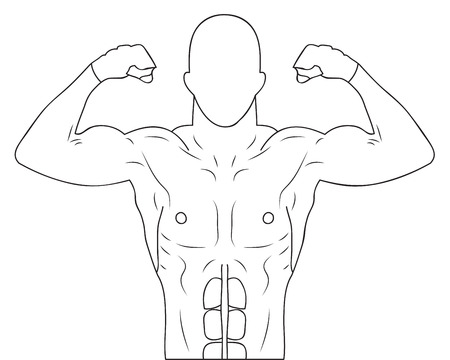 Vector illustration of an athlete demonstrating her body. Vector