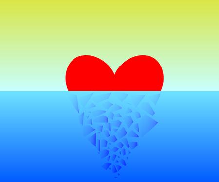 Vector illustration of a broken heart in half. Vector