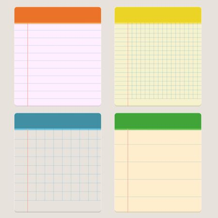 Vector illustration of a notebook in a cage and a ruler. Vector