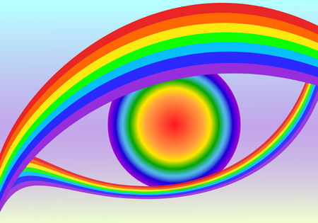 side viewing: Vector illustration of colorful, abstract rainbow eyes.
