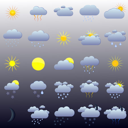 windy day: Vector illustration of a set of 25 icons forecasts.