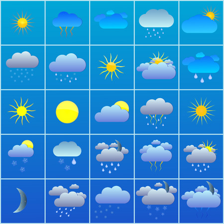forecasts: Vector illustration of a set of 25 icons forecasts.