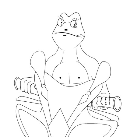 webbed: Vector illustration of a frog at the wheel of a sports bike. Illustration