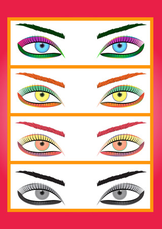 maquillage: Vector illustration of a glamorous eye, made in bright colors.
