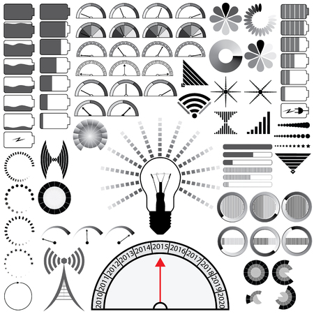 Set of 80 indicators of load, signal, battery charging, wifi. Vector illustration. Vector