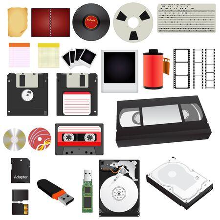 Set storage media of different generations. Vector Illustration. Vector