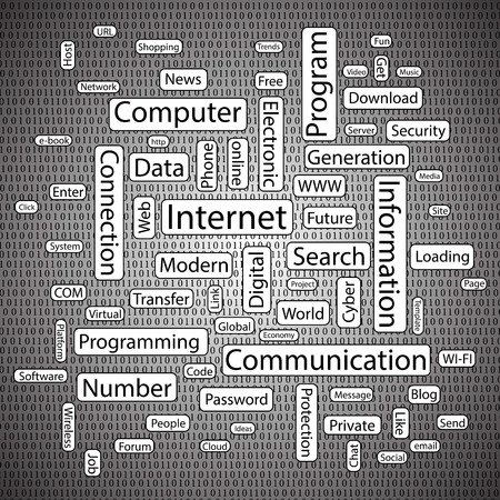 Vector illustration background with the words of modern technology. Vector
