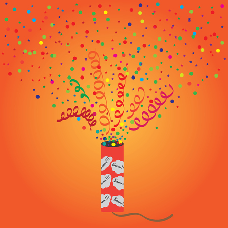 birthday background: Bright vector illustration of exploding firecrackers.