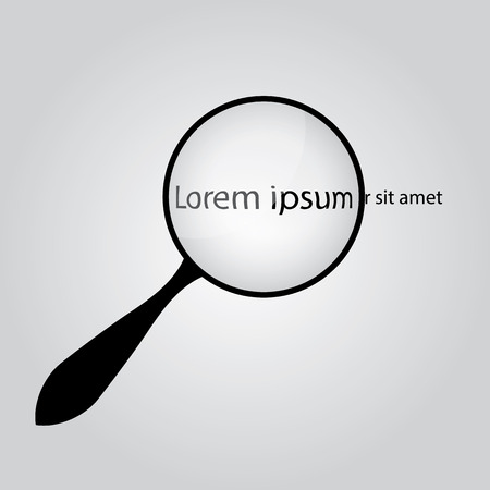 Background with a magnifying glass, magnifying text Lorem ipsum. Conceptual  . Vector
