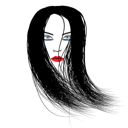 black hair blue eyes: Vector illustration of the head of a girl with her hair, bright red lips and blue eyes. Illustration