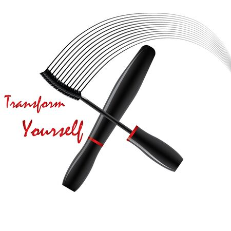 transform: Vector illustration of a tube of mascara. Isolated. Lines of brushes. Inscription - Transform Yourself Illustration