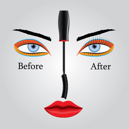 before: Vector illustration showing the appearance of eyelashes before and after applying mascara. Results and benefits.