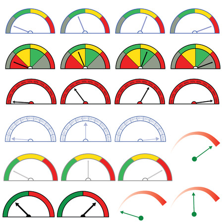 Vector set of indicators. Indicators in the form of a speedometer with arrows.