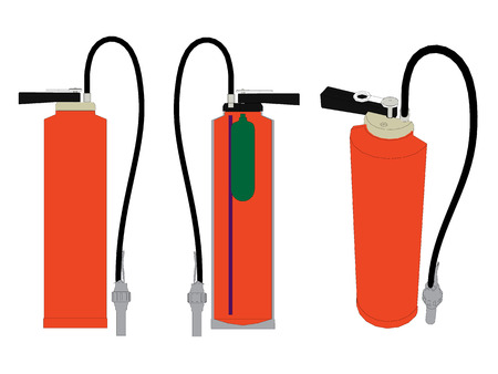 help section: Vector illustration of a fire extinguisher in the section and in its entirety. Isolated.