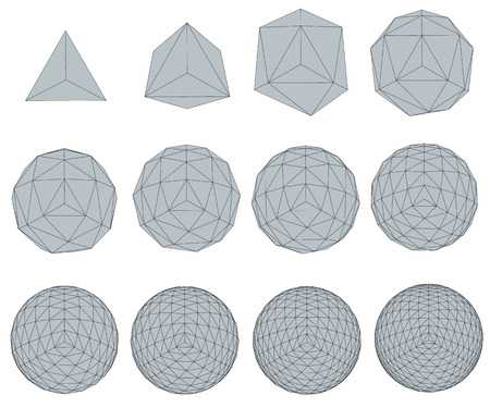 transformation: Vector illustration set with spheres. The transformation from simple to complex. Grid. Isolated.