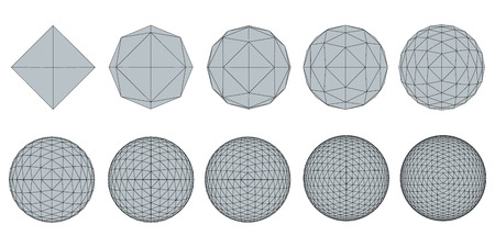 geosphere: Vector illustration set with spheres. The transformation from simple to complex. Grid. Isolated.