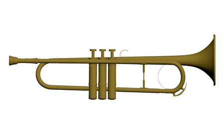 single songs: Vector illustration of a musical instrument trumpet. Isolated. Illustration
