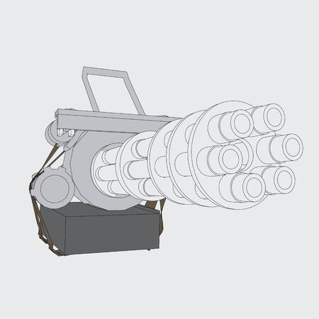 six gun: Vector illustration of a gun with six trunks. Isolated.