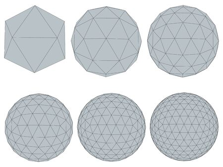 Vector illustration set with spheres. The transformation from simple to complex. Grid. Isolated.