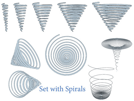 Vector illustration of a set of spirals. Isolated. Vettoriali