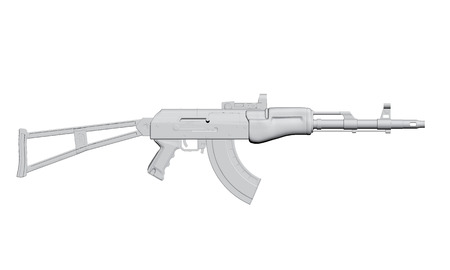 ak 74: Vector illustration of the machine. 3D. Isolated.