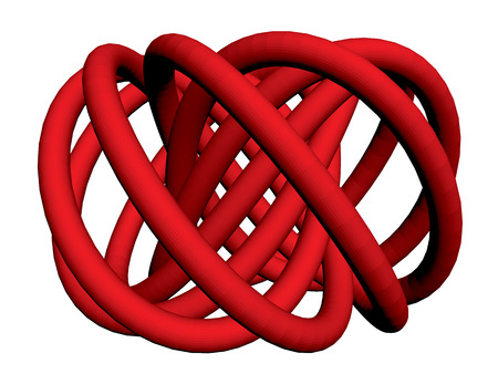 torus: Vector illustration of abstract torus with a plurality of nodes. Isolated. 3D.