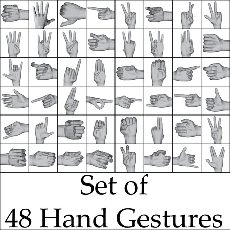 gestures: Vector illustration set of hand gestures.