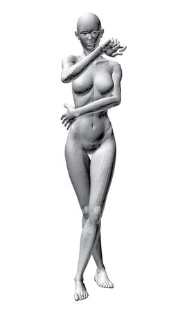 3d nude: Vector illustration of sexy nude girl. 3D.