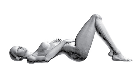 naked woman  white background: Vector illustration of sexy nude girl. 3D.