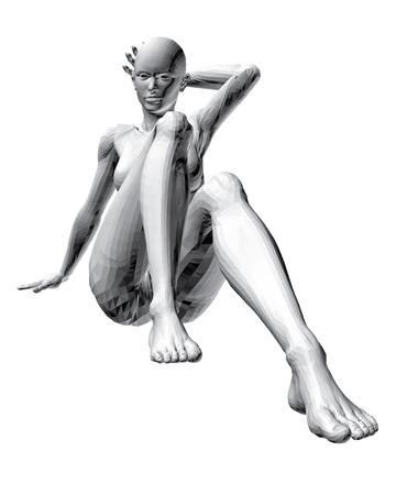 naked girl: Vector illustration of sitting naked girl. 3D.