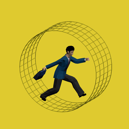 rat race: Businessman in a suit with a briefcase running in a wheel in a circle.