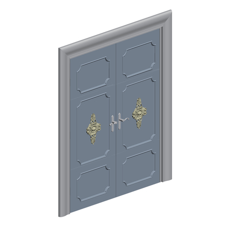 double entry: Vector illustration of a decorative door. Isometric. 3D. Isolated.