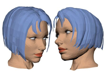 blue hair: Vector illustration of a head of the girl with blue hair. Isolated. 3D.