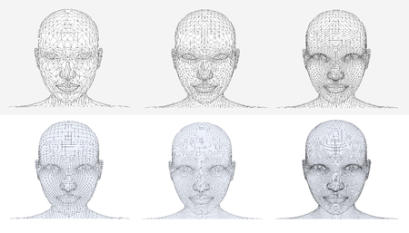 Set of vector girls head in different variants mesh. From the simple to the more complex grid.