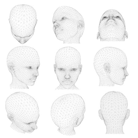 Set di testa della ragazza da diverse angolazioni. Illustrazione vettoriale. 3D.
