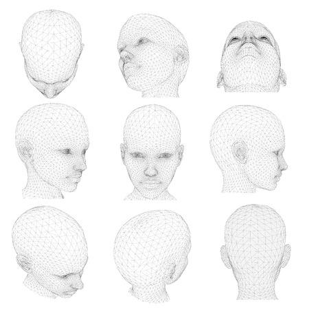 Set von Kopf des Mädchens aus verschiedenen Winkeln. Vektor-Illustration. 3D.