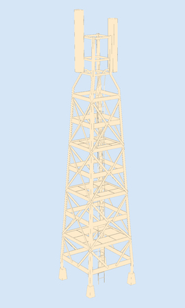 cell phone transmitter tower: Vector illustration of a radio tower. Isometric. Illustration