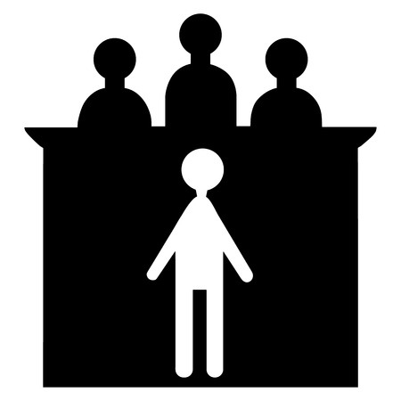 defendant: Vector illustration silhouette of superiors and subordinates. The defendant and the judge.