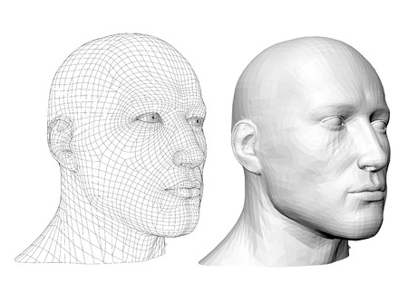 Realistic male head. Polygonal skin. Isolated. 3D. EPS 8. Vector illustration. Иллюстрация