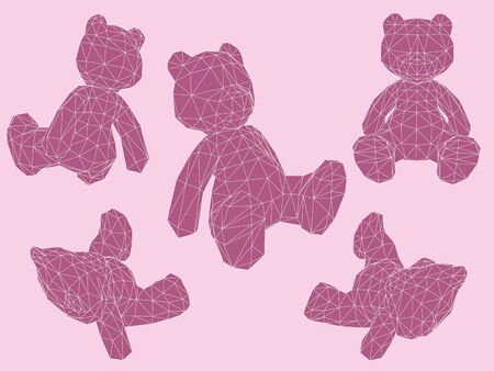 position d amour: Set with teddy bears in different positions. 3D polygonal. Vector illustration. EPS 8.