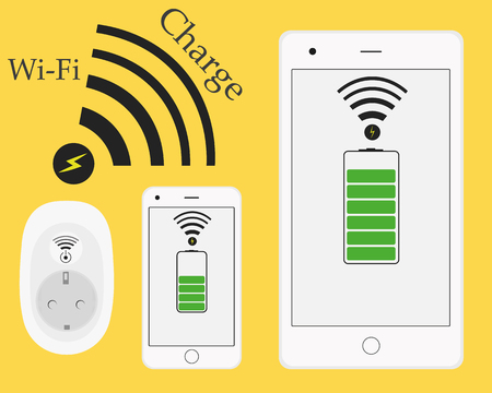 wirelessly: Wireless wifi phone and tablet charging. Innovative technologies. Socket charger from a distance without wires. Vector illustration. Smart connection. Flat style.