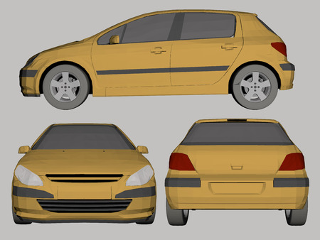 Vector illustration of 3D polygonal side view of car, the front and rear. Illustration