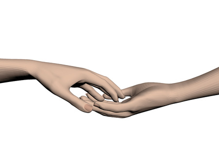 touching: Hands touching each other. 3D. Vector illustration.