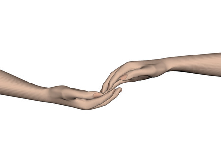 hopeful: Hands touching each other. 3D. Vector illustration.