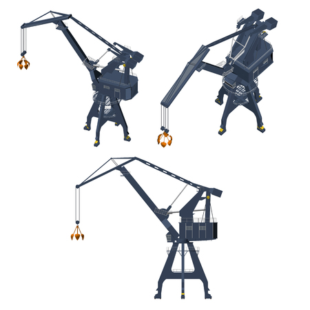 angles: Set with a crane from different angles. Isometric view. Vector illustration.