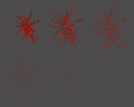 fourth birthday: Exploding fireworks. Explosion animation. Confetti. Vector illustration.
